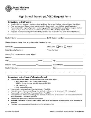 james madison high school request transcript online pdf form norcross ...