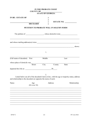 Bill Of Sale Form Petition For Probate Templates - Fillable
