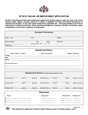 ritas job application form