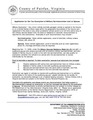 Virginia Car Tax >> Fillable Online Fairfaxcounty Military Car Tax Exemption