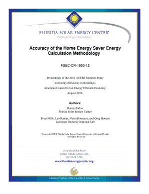 Accuracy of the Home Energy Saver Energy Calculation Methodology - fsec ucf