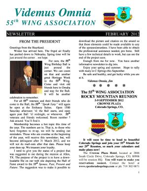 Fillable Online 55th Assn Newsletter