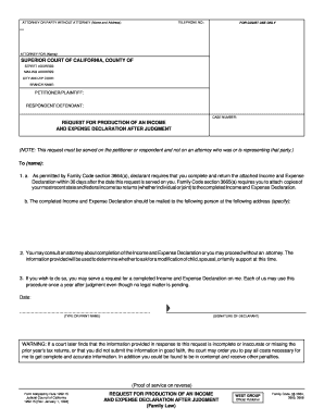 REQUEST FOR PRODUCTION OF AN INCOME AND  - Forms