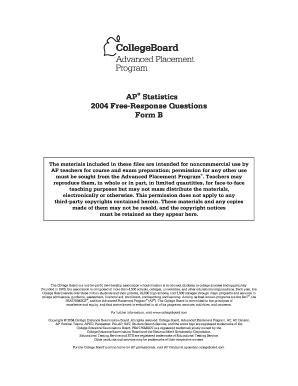 Fillable Online 2004 AP Statistics Free-Response Questions Form B ...