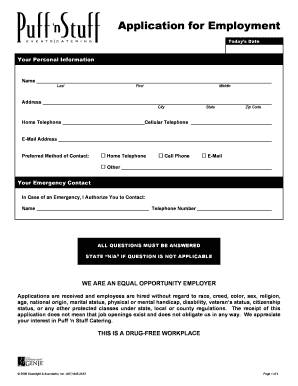 Puff N Stuff Application - Fill Online, Printable, Fillable, Blank ...