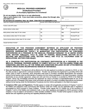 Non Institutional Medicaid Provider Agreement