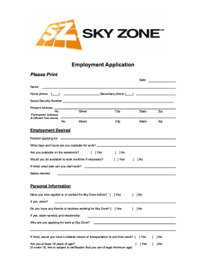 Sky zone application form Fill Online, Printable, Fillable, Blank ...
