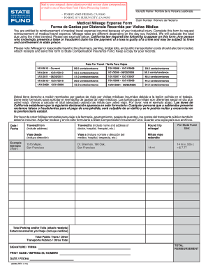 california state fund mileage form 2013