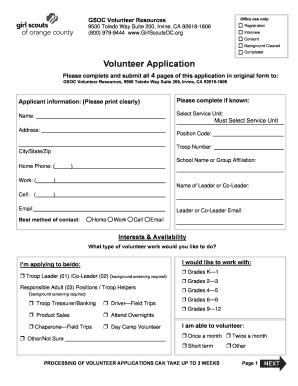 Fillable Online Volunteer Application Form - Girl Scouts of Orange ...