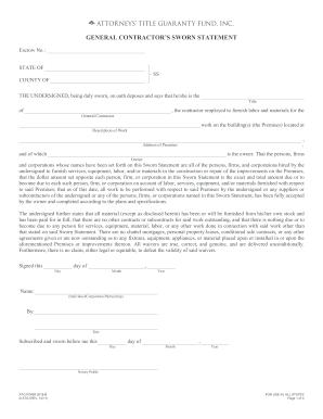 Contractor Sworn Statement Form  Blank Sworn Statement