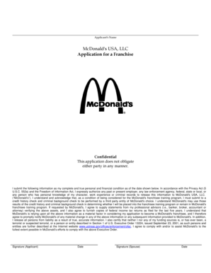 McDonald's USA, LLC Application for a Franchise