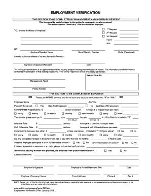 Employment Verification Washington State Form