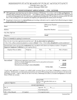 Fillable Online Msbpa Ms Reinstatement Application Ms