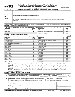 2016 Form IRS 7004 Fill Online, Printable, Fillable, Blank - PDFfiller