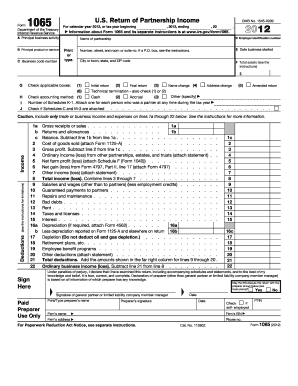 form 1065 pdf  12 Printable 12 form 12 Templates - Fillable Samples in ...