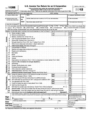 2012 form irs 1120s fill online, printable, fillable