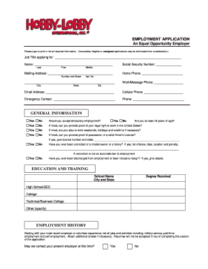 Hobby Lobby Application Pdf - Fill Online, Printable, Fillable, Blank ...