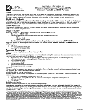 Chip Perinatal Application Form - Fill Online, Printable, Fillable ...