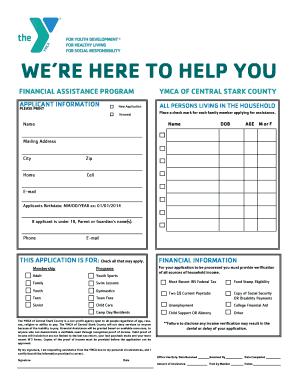 Fillable Online ymcastark Financial Assistance Application - YMCA ...