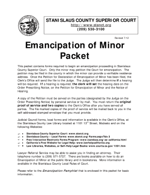 emancipation papers Emancipation of minors is a legal mechanism by which a minor is freed from control by their parents or guardians, and the parents or guardians are freed from any and all responsibility.