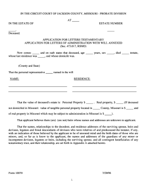 Bill Of Sale Form Letter Of Testamentary Or Of Administration ...