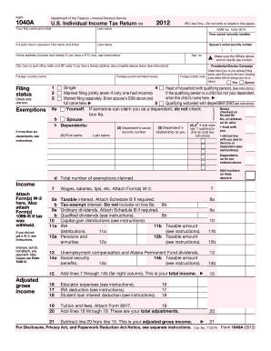 2012 form irs 1040 a fill online printable fillable for 1040ez 2012 tax table