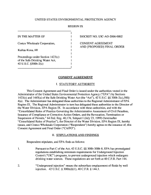 """Consent Agreement and Proposed Final Order - Costco Wholesale Corporation, Kailua-Kona, Hawaii "". ""Contains docket no. UIC-AO-2006-0002, consent agreement & proposed final order, Costco Wholesale, incl. proposed order of"