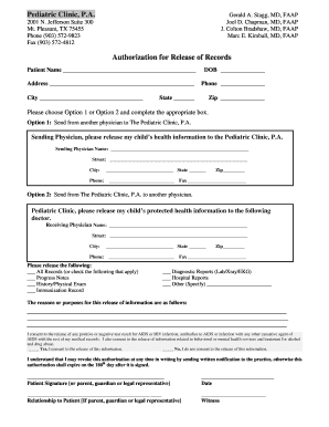 Medical Records Release Form - Pediatric Clinic, PA