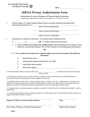 Hipaa Authorization Form | Hipaa Authorization Form For Family Members Templates Fillable