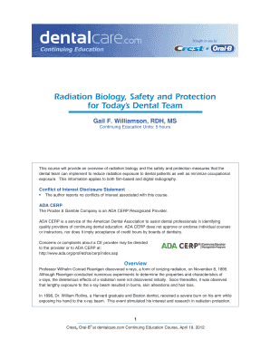 CE 399 - Radiation Biology, Safety and Protection for Today\'s Dental Team. April 19, 2012