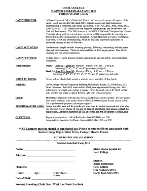 cecil college summer basketball camp form