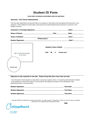 Fillable Online Draft Student ID Form - College Board Fax