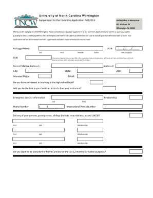 unc wilmington common application fill online printable  unc wilmington common application 2013