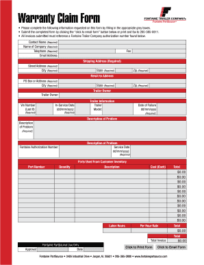 Fillable Online Warranty Claim Report - Fontaine Trailer Fax Email ...