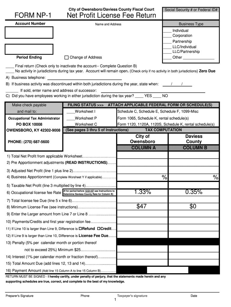 City Of Owensboro Tax Formpdffillercom - Fill Online