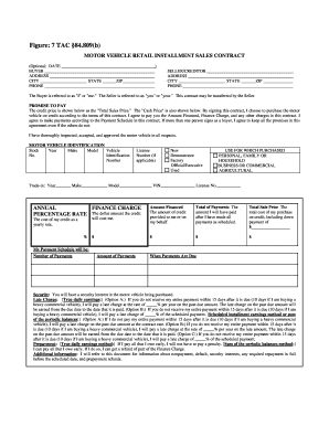 Motor vehicle purchase agreement forms and templates for Installment sale agreement template