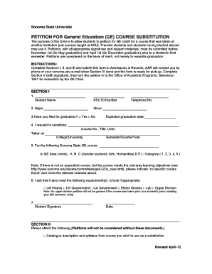 Fillable Online sonoma GE Course Substitution Form (PDF format ...