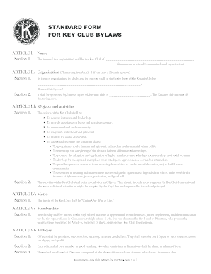 Florida Key Club Bylaws Fill Online Printable Fillable Blank - Florida bylaws template