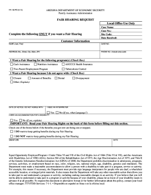fair hearing request for arizona form