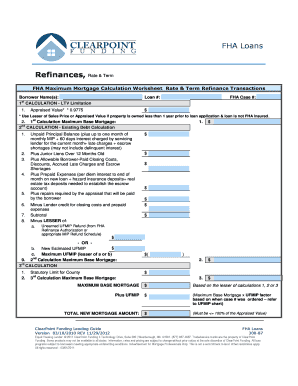 FHA Rate and Term Refi Worksheet - Clearpoint Funding