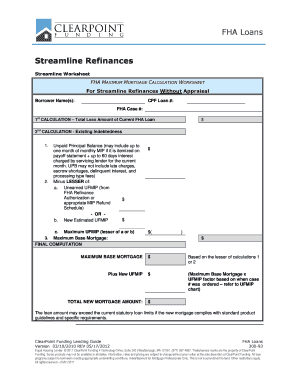 Printables Fha Refinance Worksheet fillable online fha streamline refinance net tangible benefit fill online