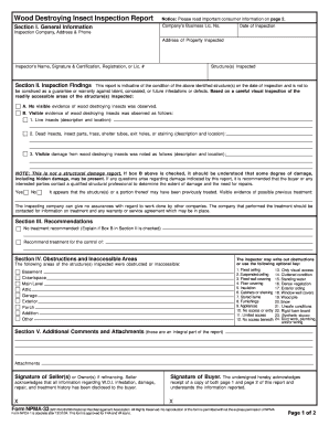 Termite Va Termite Inspection Form
