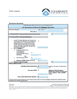 Printables Fha Streamline Calculation Worksheet fillable online fha streamline submission checklist clearpoint fill online