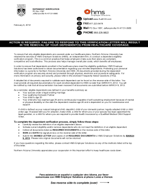 SAMPLE dependent eligibility audit letter - Northern Arizona ...