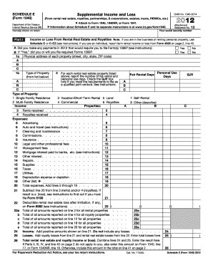 2012 Form 1040 (Schedule E).Supplemental Income and Loss