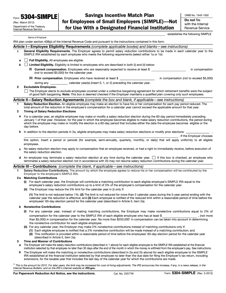 form 5304-simple (rev. 9-2008)