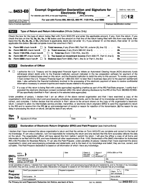 2012 Form 8453-EO. Exempt Organization Declaration and Signature for Electronic Filing