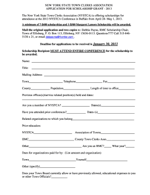 NYSTCA Annual Conference Scholarship Application