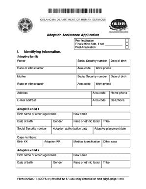 Fillable Online okdhs Form 04AN001E (DCFS-54)  Adoption Assistance