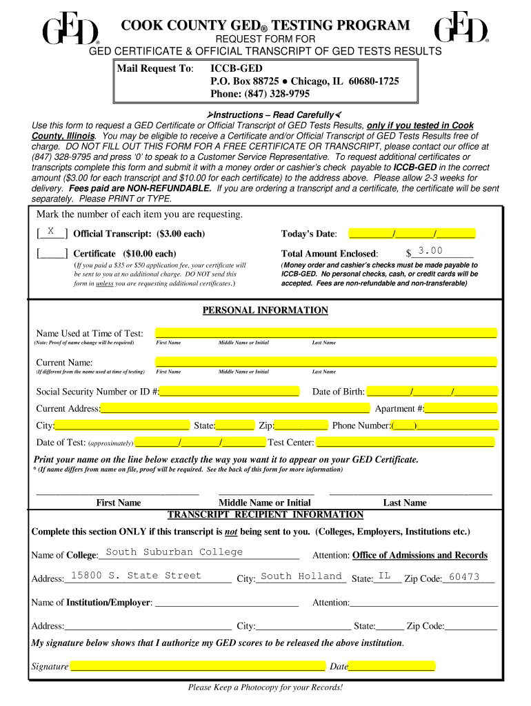 Cook County Request Form For Ged Certificate Official Transcript Of Ged Tests Results Fill And Sign Printable Template Online Us Legal Forms